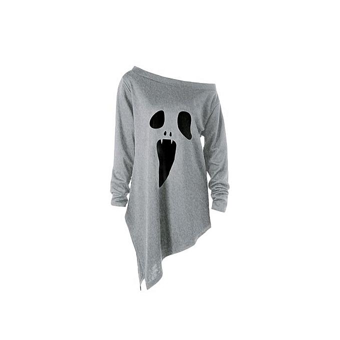 Buy Fashion Halloween Plus Size Skew Neck Asymmetric Graphic