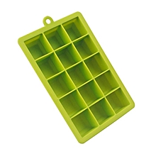 15 Grids Square Shape Silicone Ice Cube Moulds - Green