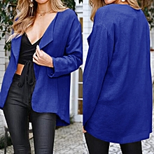 Africanmall store Womens Casual Solid Open Cape Coat Loose Long Sleeve Kimono Jacket Cardigan Tops-Blue