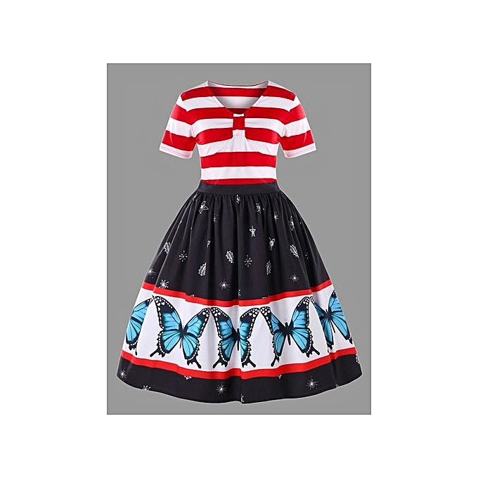 Buy Nextmia Plus Size Butterfly Pattern Swing Dress Red And White