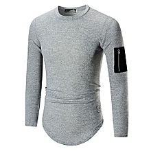 Grace Men's Leisure T-shirt Long Sleeved T-shirts  Round Neck  Solid Color Sleeve Zipper Decoration