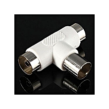 2 Way TV Aerial Coaxial Cable T Splitter, Male To 2x Female Connectors, Free view