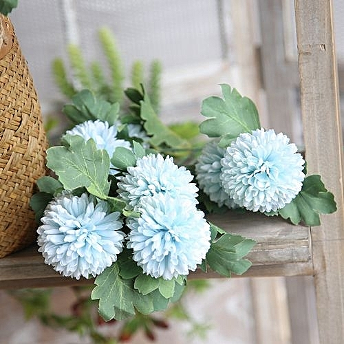 Generic Technologg Home Decor Artificial Silk Fake Flowers Dandelion Floral Wedding Bouquet Hydrangea BU Blue