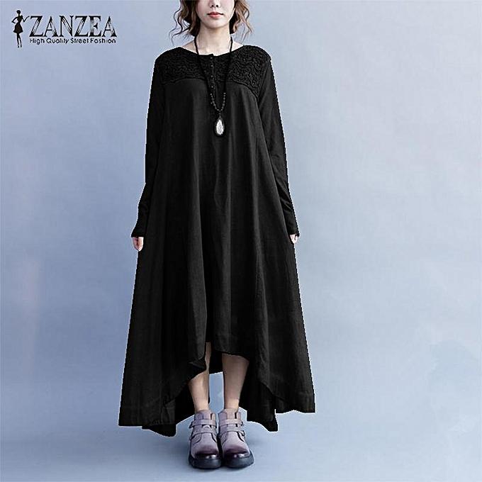 f7fa82f151e ZANZEA Women Button Up Plus Size Cotton Kaftan Boho Long Sleeve Maxi Dress  Black