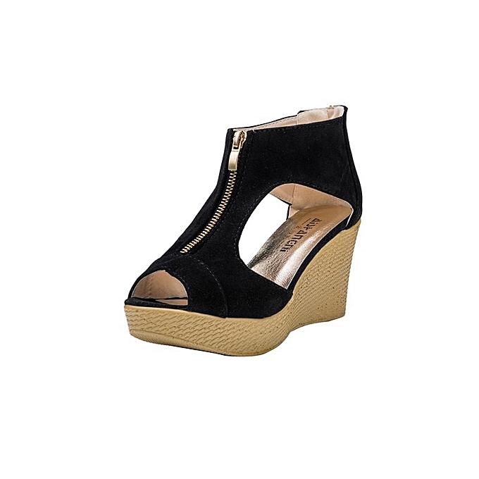 6a09c4579b33 Women Shoes Summer Sandals Casual Peep Toe Platform Wedges Sandals Shoes- Black (EU Sizing ...