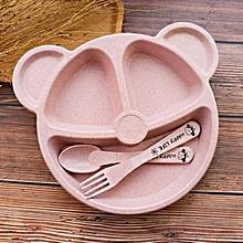 Home-Children's Dinner Set Wheat Straw Tableware Baby Dish Tray Breakfast Pink