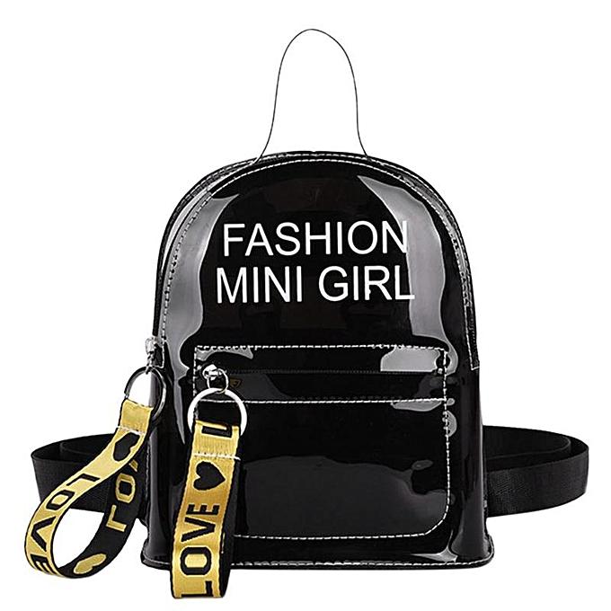 7b16542c74fe Transparent Female Backpack Clear PVC Lady Rucksack Teenager Girl School  Bags Plastic Women Female Casual Daypack Mochilas(Black)