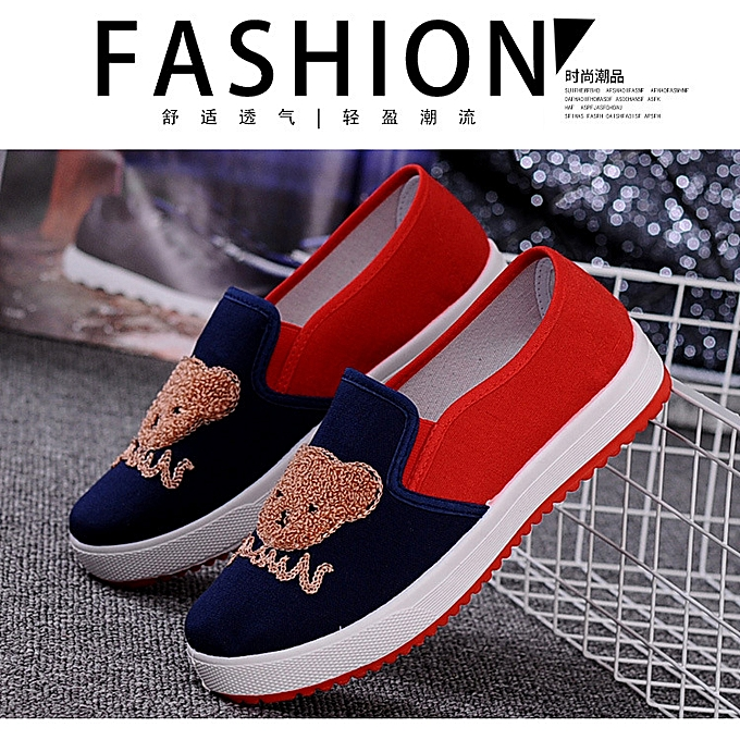 07e7a1810f4f81 Ms.Wangdu Comfortable Cloth Shoes Student Embroidery Ladies Leisure Single  Shoes Cartoon Flat Bottom Shallow
