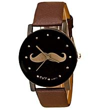 Mustache Crystal Imitation Leather Quartz Wrist Watch