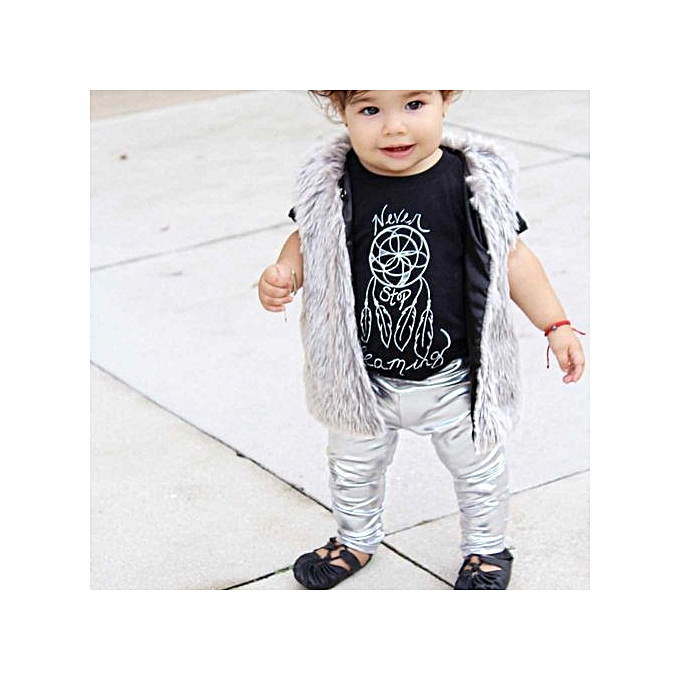 0914831abe5cd ... Braveayong Baby Infant Fashion Full Length Leggings Faux Leather  Gilding Skinny Pants -ilver ...