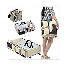 Cream Yellow/Brown Patchwork Diaper Bag  & Travel Bassinet