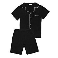 Men Patchwork Short Sleeve Tops With Elastic Waist Shorts Pajamas Sets ( Black )