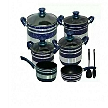 Cooking Pots  Non Stick 12 pieces -[ Blue and Silver]