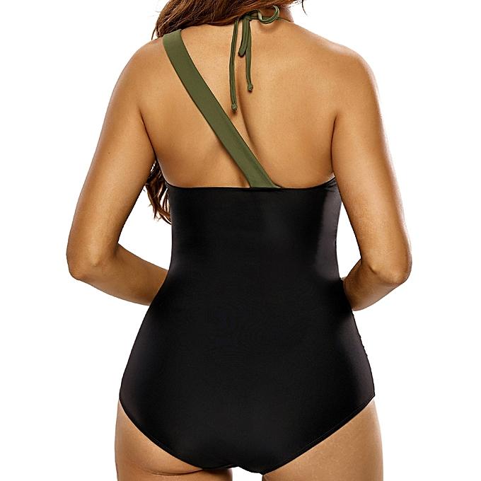 f1036567 ... Plus Size Women Tight One Shoulder Halter Beachsuit Black Bodysuit One- pieces ...