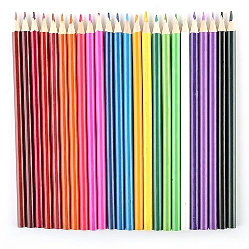 24 colors school office wood art drawing graffiti oil base sketch pencils set