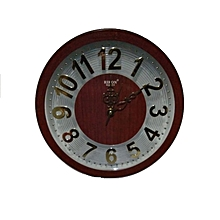 Wall clock - Round shaped, brown framed clock with gold numbering  , 33cms diametre