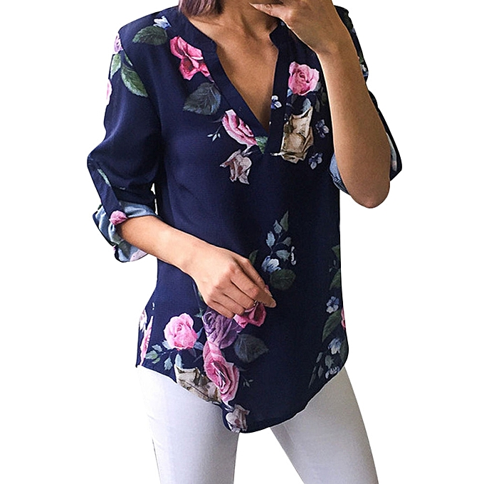 517ccb857ec4aa Women Ladies Floral Printing Half Sleeve T-Shirt Irregular Tops Blouse