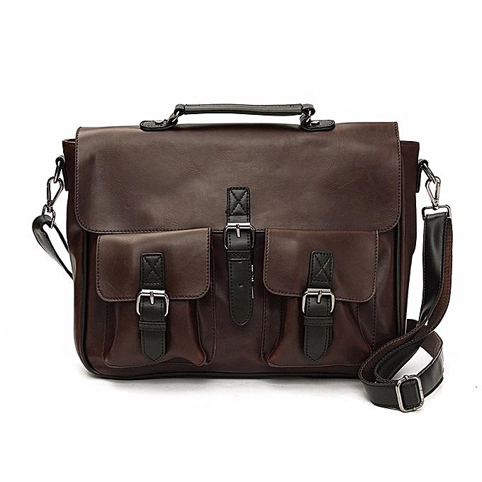 6dcf5f9e551e Men Leather Briefcase Backpack Messenger Shoulder Handbag Crossbody Laptop Bag  Coffee ...