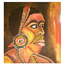 African wall painting - 40×41.5 cms - multicolored