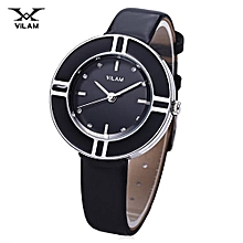 Female Watch Artificial Diamond Circular Dial Leather Band Wristwatch-BLACK