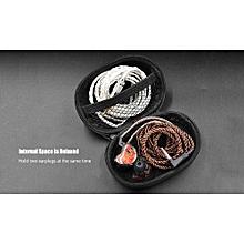 Earphone Bag Shockproof Mini PU Leather - Black