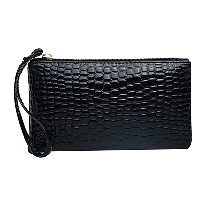 f26deb5807a Crocodile Pattern Women Wallet Purse Card Phone Holder Makeup Bag Handbag  black