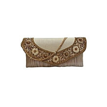 Brocade Clutch with Fine Embroidery Border - Gold