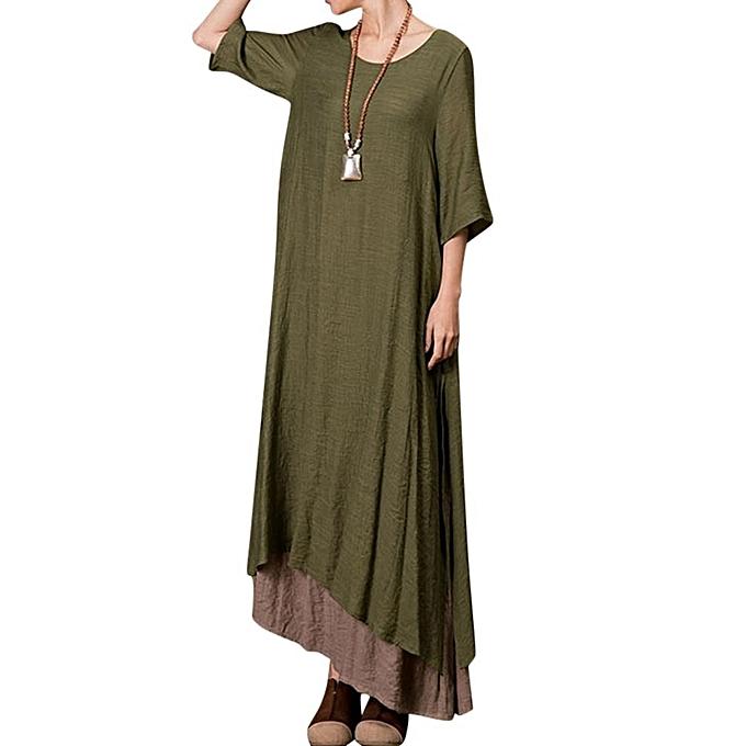 c4955996fb8 Fashion Plus Size Vintage Women Cotton Loose Splicing Long Dress ...