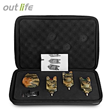 JY-35-3 Wireless Camouflage Fishing Bite Alarm Set with Receiver Case - Camouflage