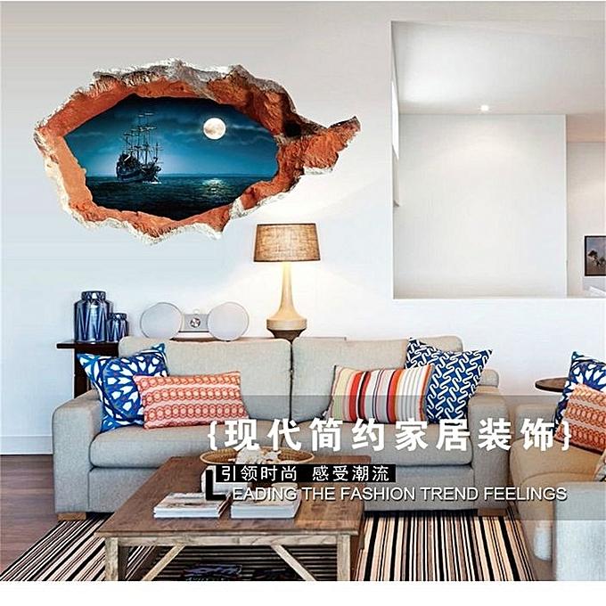 3d Broken Wall Art Mural Decal Senery Wall Stickers Home Art Decor Diy Jumia Kenya