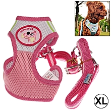Mesh Breathable Pet Chest Suspenders Dog Traction Rope, Size: Xl (pink)