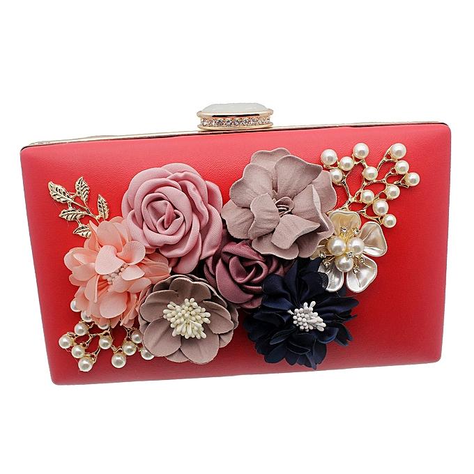 78c8fde4ba68 Women Red Clutch Bag Cluster Multicolour Flowers Party Bridal Handbag  Wedding Evening Purse - Multicolour HBS0006