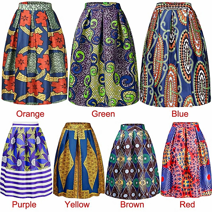 7d7c114451 Sexy Women Pleated Skirt Vintage Floral Print High Waist A-Line Midi Skater  Skirt