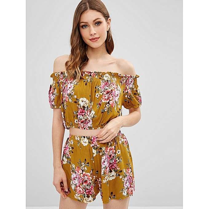 c583d8800aaaec ZAFUL Floral Off Shoulder Cropped Top And Shorts Set