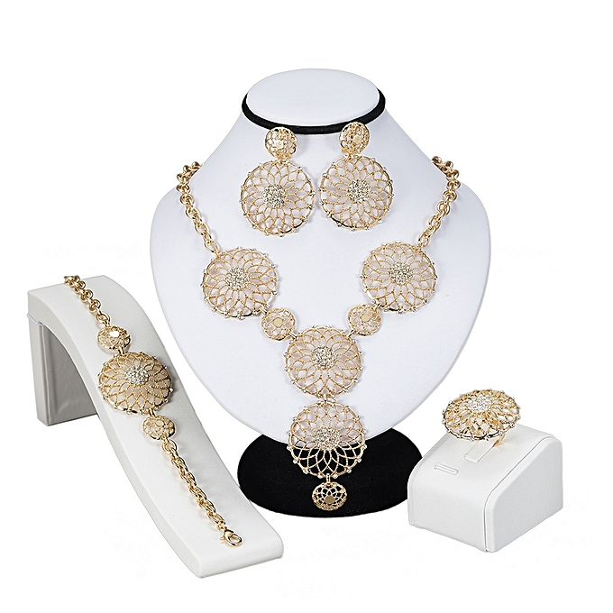 Gold Plated Pearl Beads Jewelry Set Dubai Wedding Costume Sets African Ethiopian