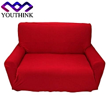 2 Seater Pure Colour Polyester Sofa Anti-mite Soft Couch Slipcovers Burgundy