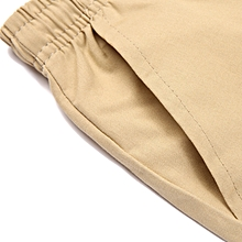 Men's Casual Pure Color Elastic Waistline Calf-Length Shorts