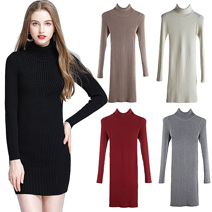 8dc5a1461e988 ... Women Autumn Winter Sweater Dress Slim Turtleneck Sexy Bodycon Solid  Color Casual Knitted Dress