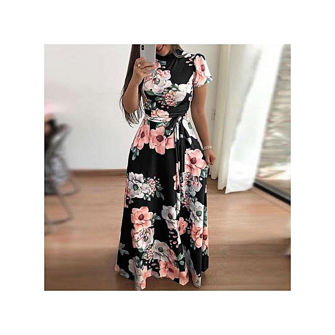 4336cc98336 Hiaojbk Store Fashion Women O-Neck Floral Printed Short Sleeve Bandage Long  Dress-Black ...
