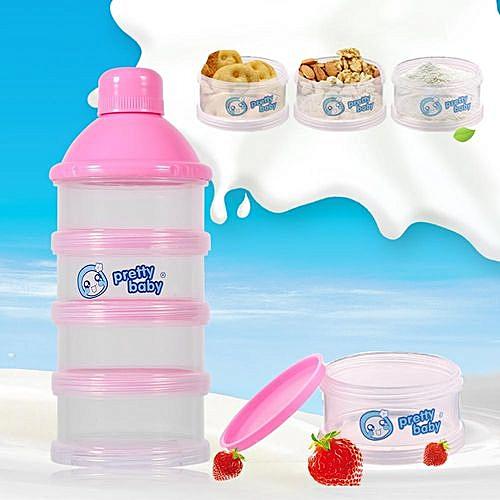 19966cec694c 4 Layers Portable Baby Milk Powder Formula Dispenser Food Candy Storage  Case (Pink)