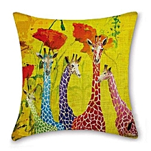 Colorful Pictures Sofa Home Cafe Bed Decor Pillow Case Square Cushion CoverCotton Linen Invisible Zipper 45cmx45cm (Yellow)