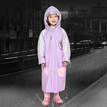 Age 3-12 Kids Reusable Raincoat Hooded With School Bag Cover, Pockets, Hood, And Sleeves(Purple XL)