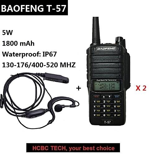 2PCS PTTT-57 Walkie Talkie 10 KM Professional Waterproof IP67 CB Radio  Mobile UHF VHF Ham Radio Transceiver UV-9R 9R ObeyQ