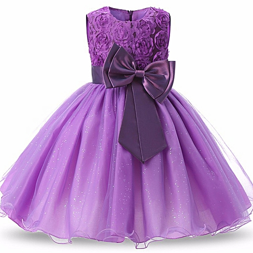 a0e343a3a Generic Children's Bow Dress Princess Dress Evening Costume For 0-9 Year Old  (purple)