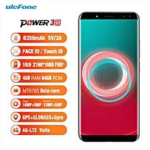 POWER 3S 4GB RAM 64GB ROM  6.0'' Corning Gorilla Glass 4 FHD+ Android 7.1 6350mAh 4G LTE Smartphone Black