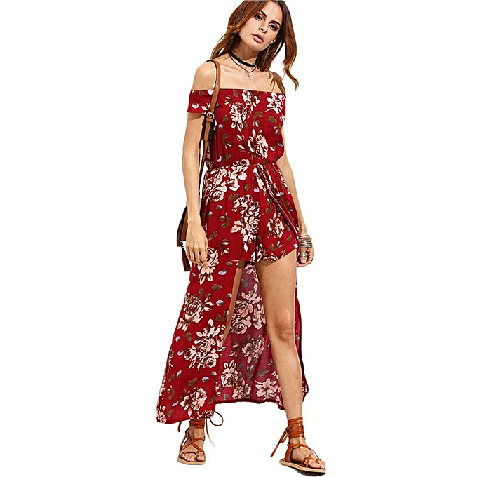 ba4711e759766 TB Summer Fashion Lady Floral Print Off Shoulder Strapless Sexy Dress With  Shorts Wine red