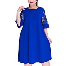Fashion Office Midi Dress Short Sleeve Elegant Lace Loose Elegant Vestidos Sheath Ladies One-piece