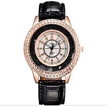 PU Leather Quicksand Rhinestone Quartz Watch Bracelet Watches Ladies Wristwatch -Black
