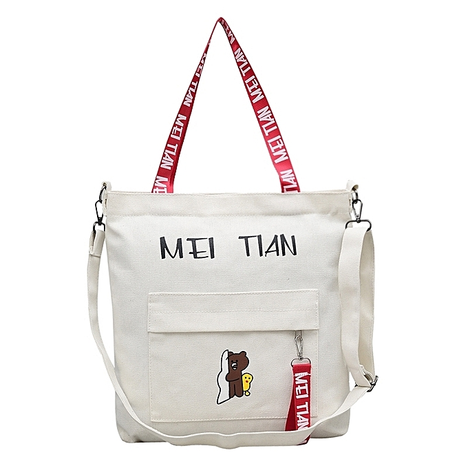 White2018 New Style Of Han Ban S Women Bags Wrap Inclined Ku To Small Bear Canvas