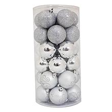 6cm Assorted Silver Christmas Balls (30 pcs)